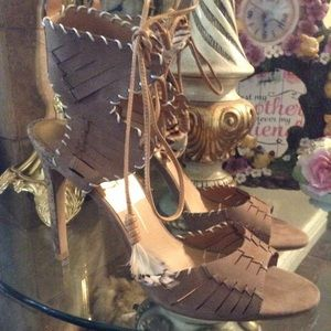 DOLCE VITA BROWN/TAN ANKLE SANDALS